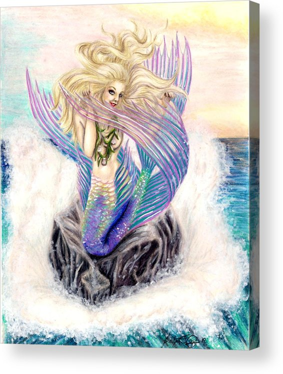 Mermaid Acrylic Print featuring the drawing Fishy Flirtation by Scarlett Royal