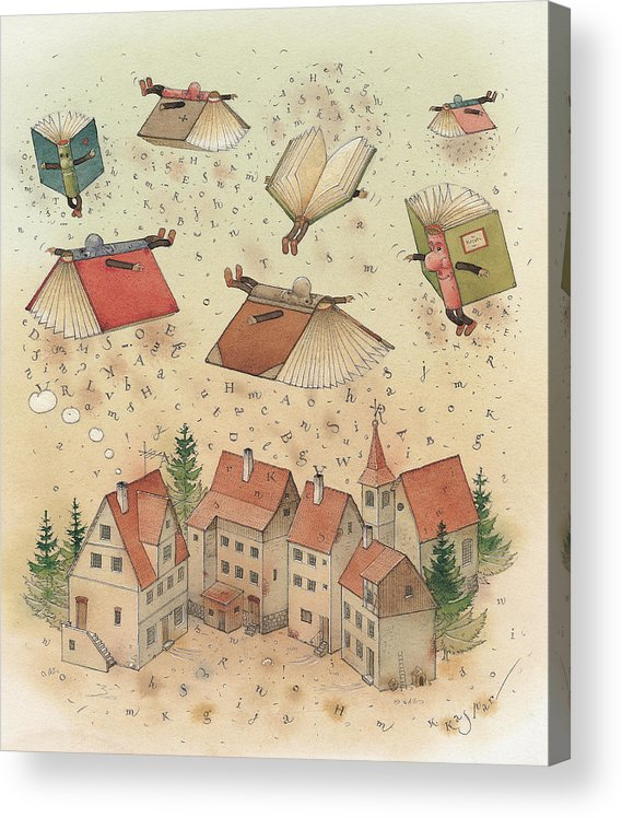 Books Town Flying Alphabet Acrylic Print featuring the painting Flying Books by Kestutis Kasparavicius