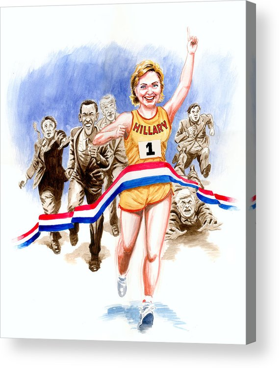 Hillary Clinton Acrylic Print featuring the painting Hillary and the race by Ken Meyer jr