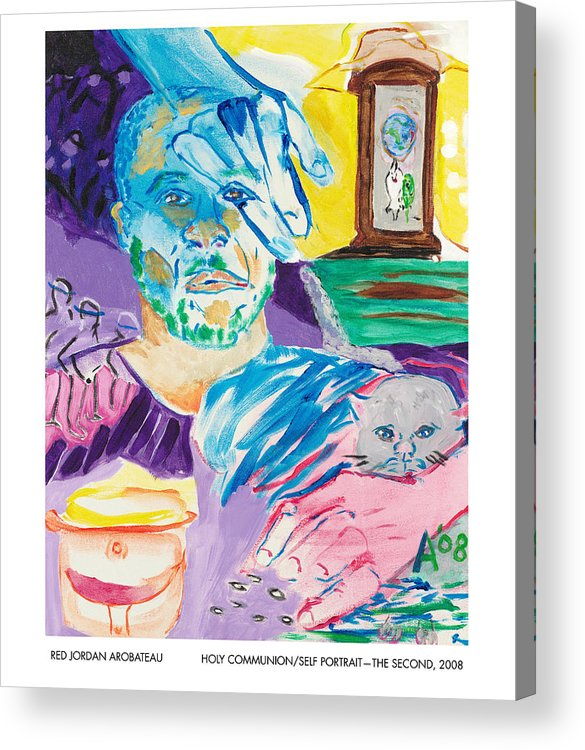 Portrait Acrylic Print featuring the painting Holy Communion Self Portrait The Second by Red Jordan Arobateau