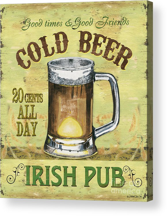 Beer Acrylic Print featuring the painting Irish Pub by Debbie DeWitt