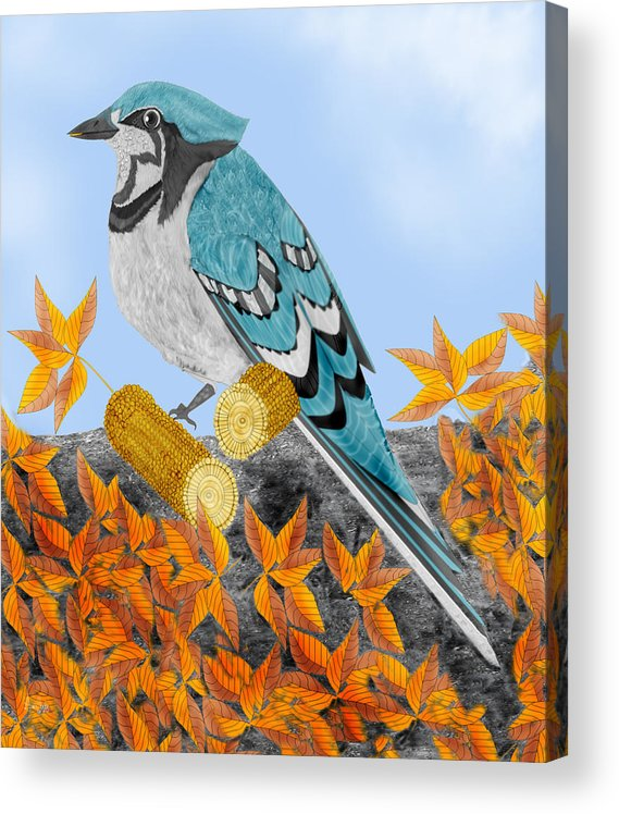 Jay Bird Acrylic Print featuring the painting Jay with Corn and Leaves by Anne Norskog