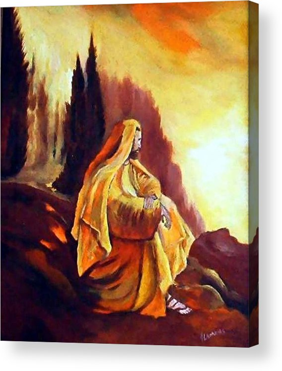 Figurative Acrylic Print featuring the painting Jesus on the Mountain by Julie Lamons