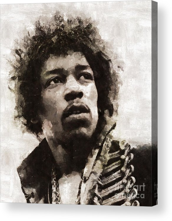 Hollywood Acrylic Print featuring the painting Jimi Hendrix, Legend by Esoterica Art Agency