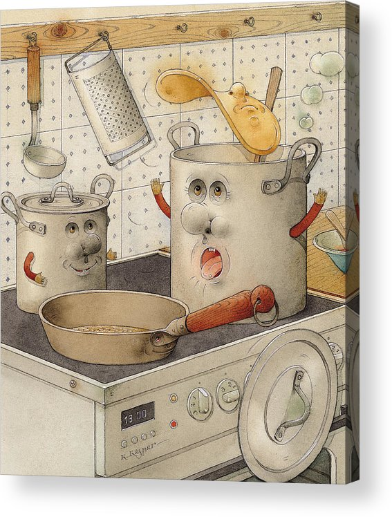 Kitchen Food Accident White Pan Pot Cooker Cooking Acrylic Print featuring the painting Kitchen by Kestutis Kasparavicius