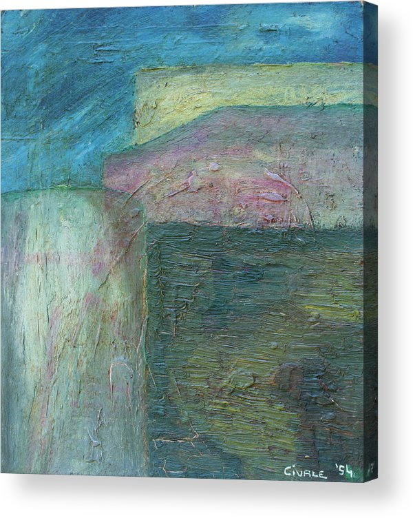 Acrylic Print featuring the painting Landscape with houses by Biagio Civale