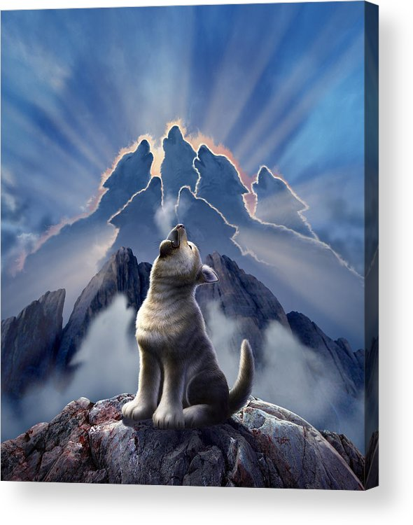 Wolf Acrylic Print featuring the digital art Leader of the Pack by Jerry LoFaro