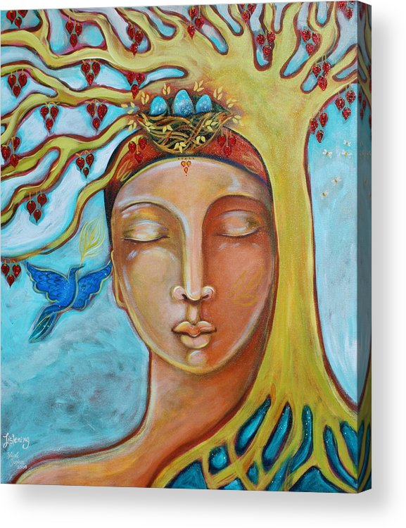 Eggs Acrylic Print featuring the painting Listening by Shiloh Sophia McCloud
