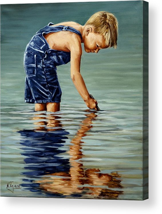 Guy Acrylic Print featuring the painting Little boy reflection by Natalia Tejera
