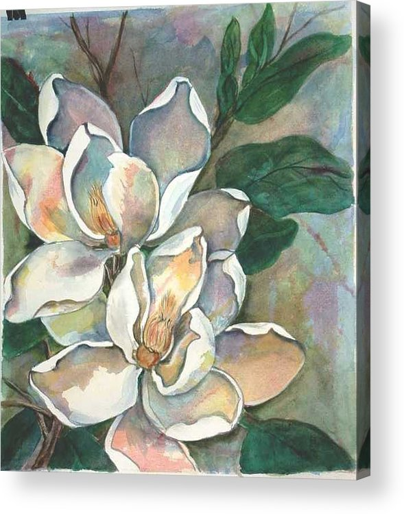 Watercolor Acrylic Print featuring the painting Magnolia four by Diane Ziemski