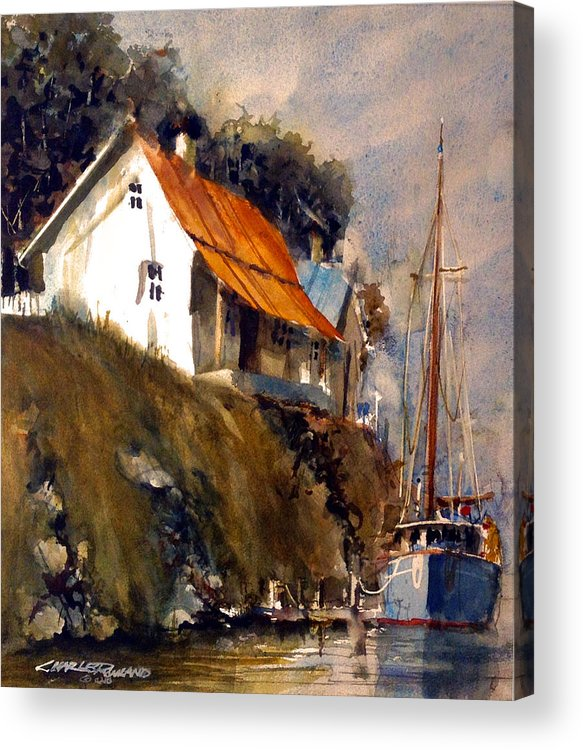 Maine Acrylic Print featuring the painting Maine Dock by Charles Rowland