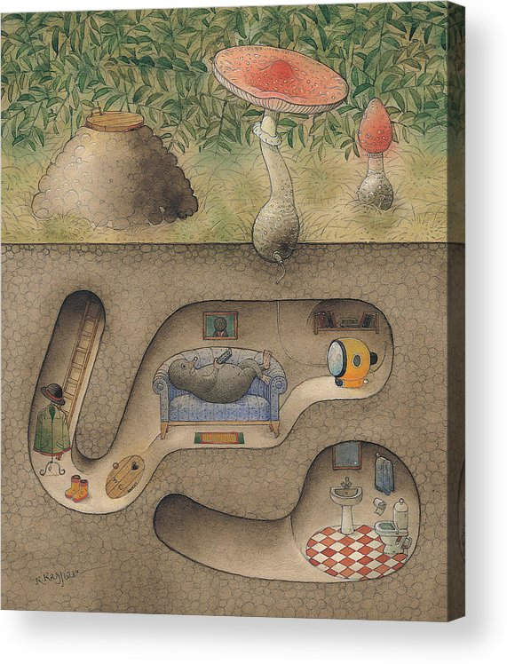 Underground Mole Cellar Tv Agaric Home Relaxation Acrylic Print featuring the painting Mole by Kestutis Kasparavicius