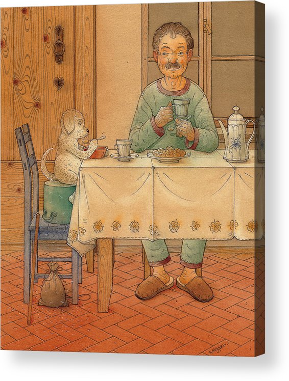 Animals Dog Figure Evening Tea Acrylic Print featuring the painting Mysterious Guest by Kestutis Kasparavicius