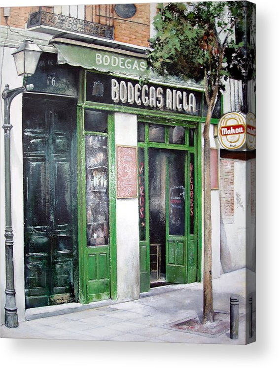 Bodegas Acrylic Print featuring the painting Old Tavern-Madrid by Tomas Castano