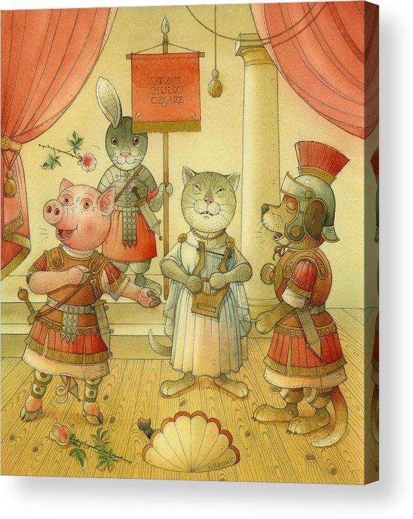 Opera Singer Animals Cat Pig Dog Rabbit Giulio Cesare Music Acrylic Print featuring the drawing Opera by Kestutis Kasparavicius