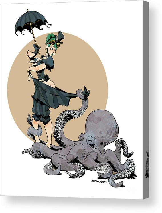 Octopus Acrylic Print featuring the digital art Otto By The Sea by Brian Kesinger