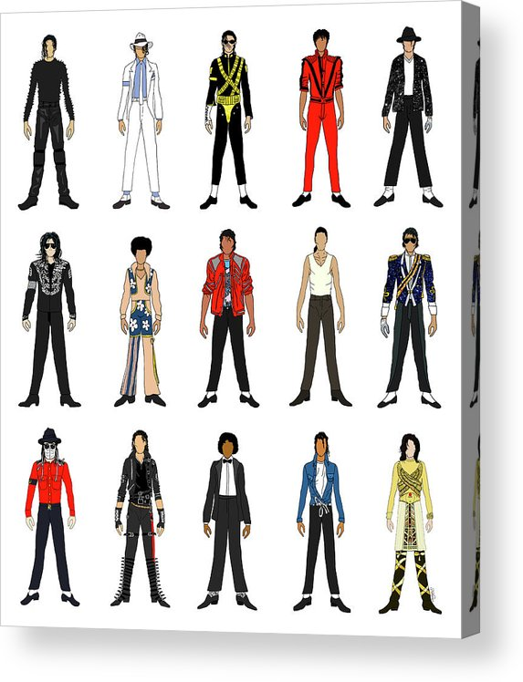 Michael Jackson Acrylic Print featuring the digital art Outfits of Michael Jackson by Notsniw Art