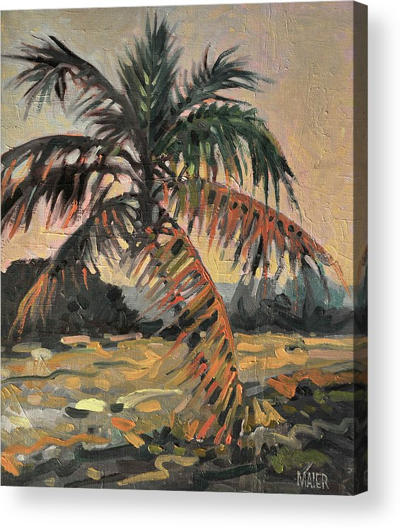 Oil Acrylic Print featuring the painting Palm by Donald Maier