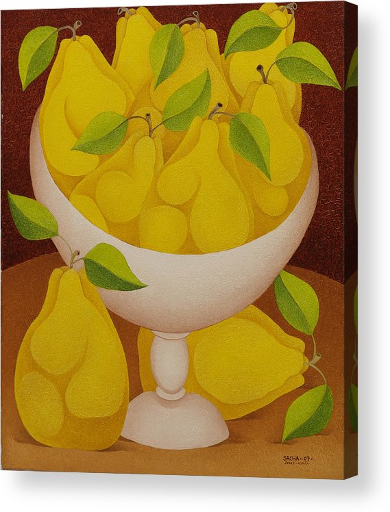 Sacha Circulism Toothpick Art Acrylic Print featuring the painting Pears  2007 by S A C H A - Circulism Technique