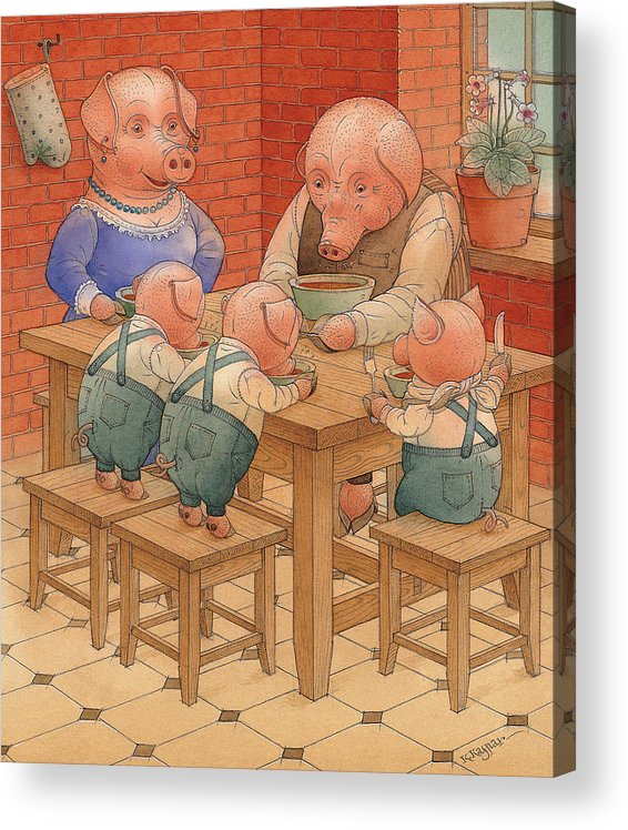 Animals Pig Kitchen Food Family Acrylic Print featuring the painting Pigs by Kestutis Kasparavicius
