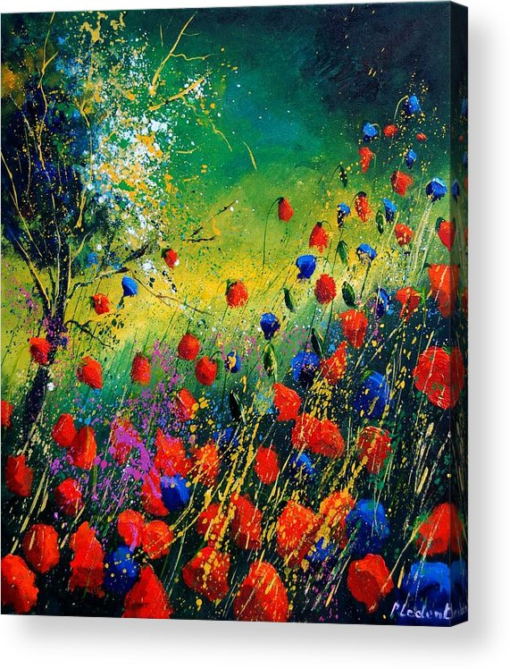 Flowers Acrylic Print featuring the painting Red And Blue Poppies by Pol Ledent