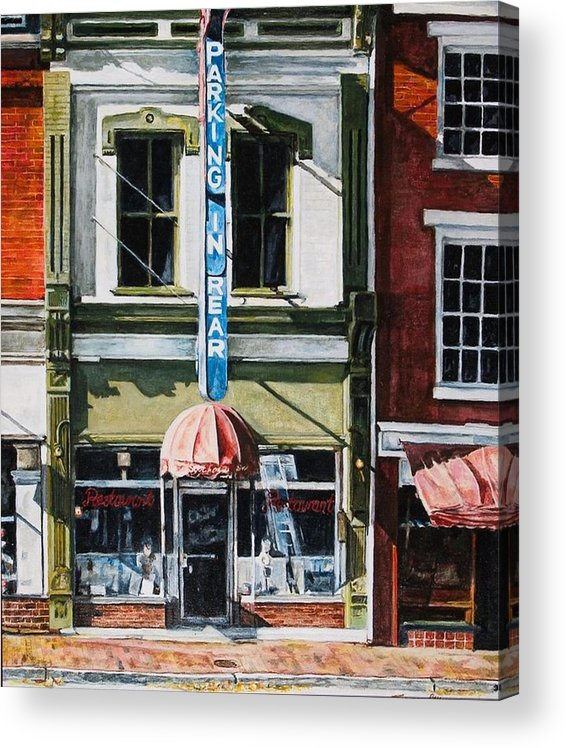 Street Scene Acrylic Print featuring the painting Restaurant by Thomas Akers