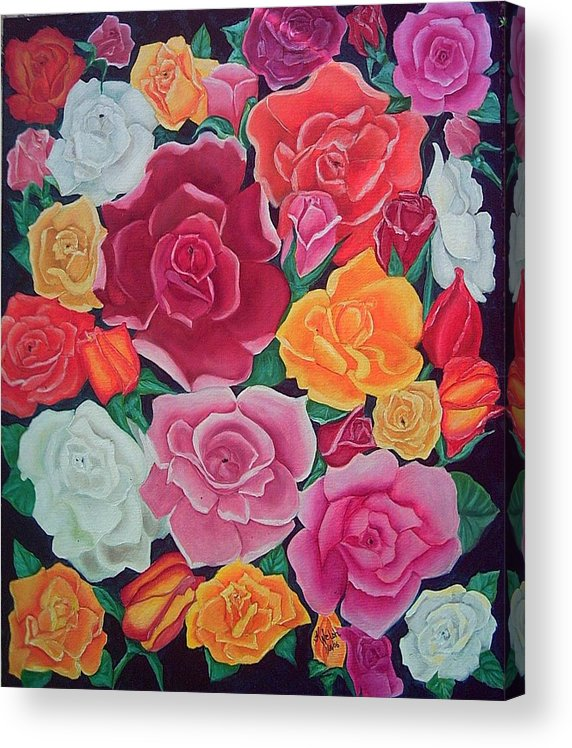 Rose Acrylic Print featuring the painting Rose Reunion by Kathern Ware