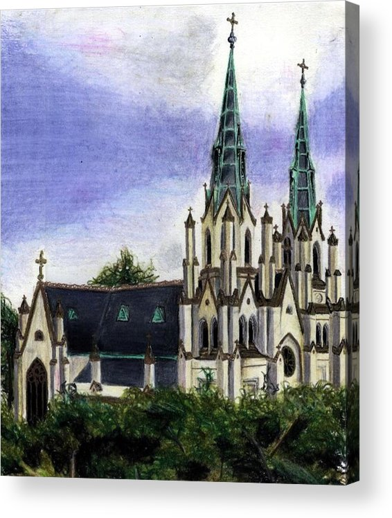 Buildings Acrylic Print featuring the drawing Savannah Cathedral by Scarlett Royal