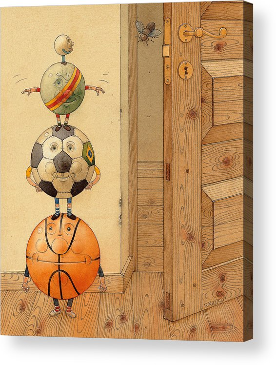 Ball Sport Room Door Fly Acrylic Print featuring the painting Scary Story by Kestutis Kasparavicius