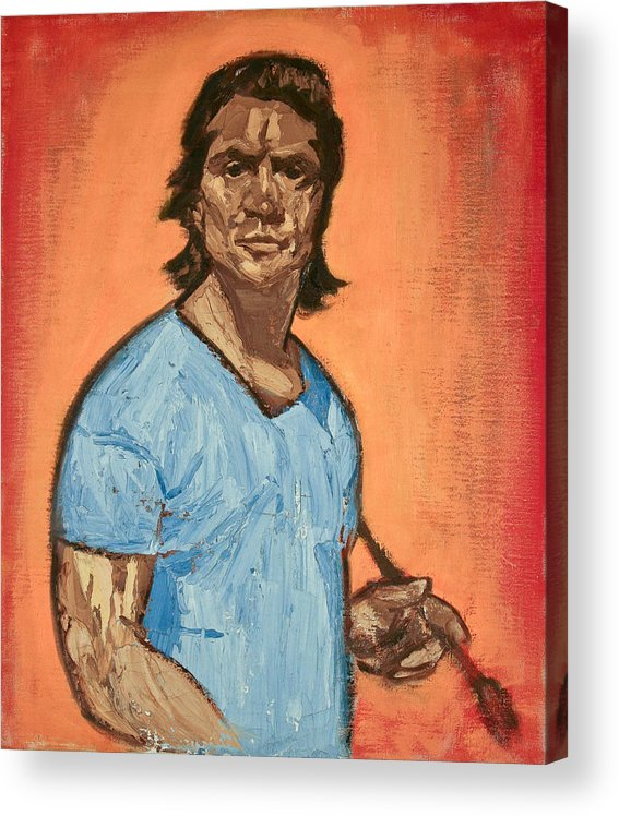 Portrait Acrylic Print featuring the painting Self Portrait by Victor Herman by Joni Herman