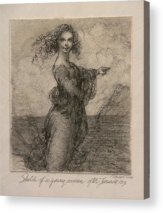 Classic Drawing Acrylic Print featuring the painting Sketch of a Young Woman after Leonardo by Gary Kaemmer