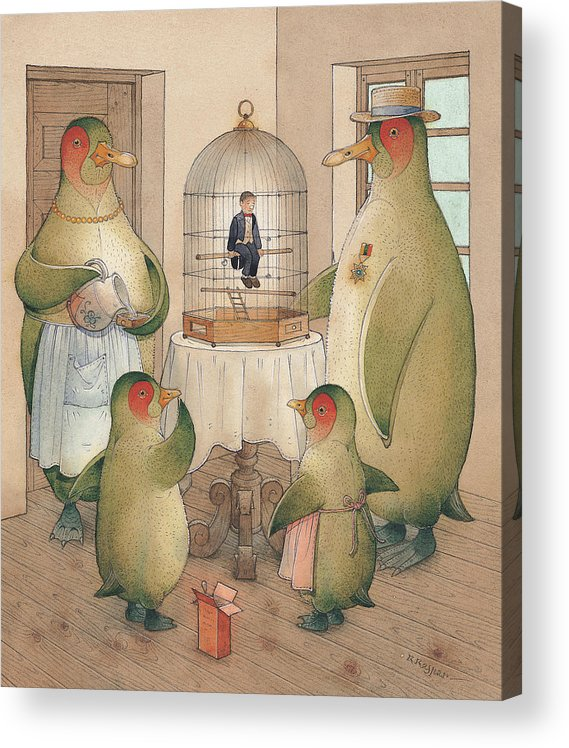 Birds Opera Acrylic Print featuring the painting Songman by Kestutis Kasparavicius
