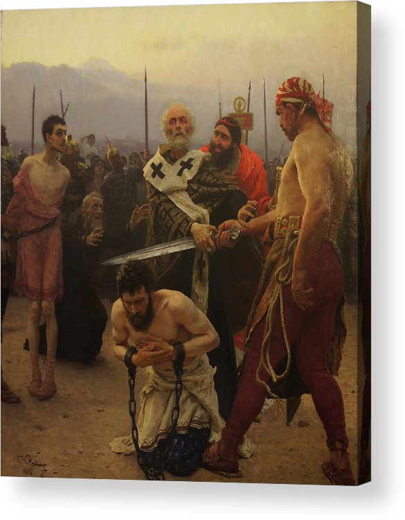 Ilya Repin Acrylic Print featuring the painting St. Nicholas Saves Three Innocents from Death by Ilya Repin