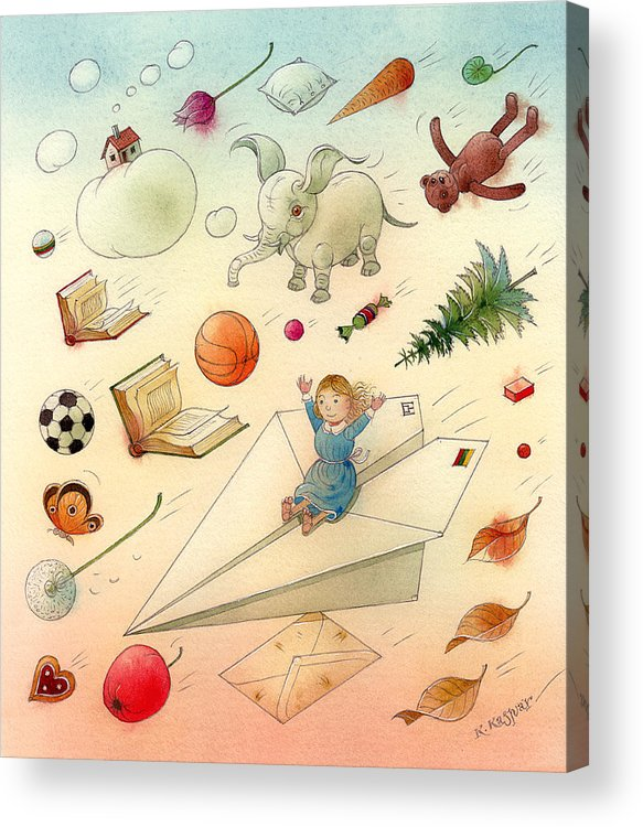 Dream Flying Children Toys Books Sky Acrylic Print featuring the painting The Dream by Kestutis Kasparavicius