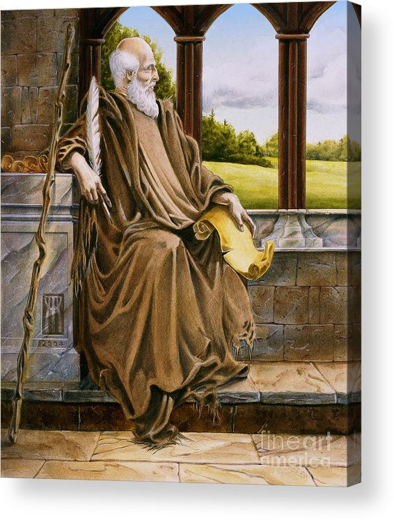 Wise Man Acrylic Print featuring the painting The Hermit Nascien by Melissa A Benson