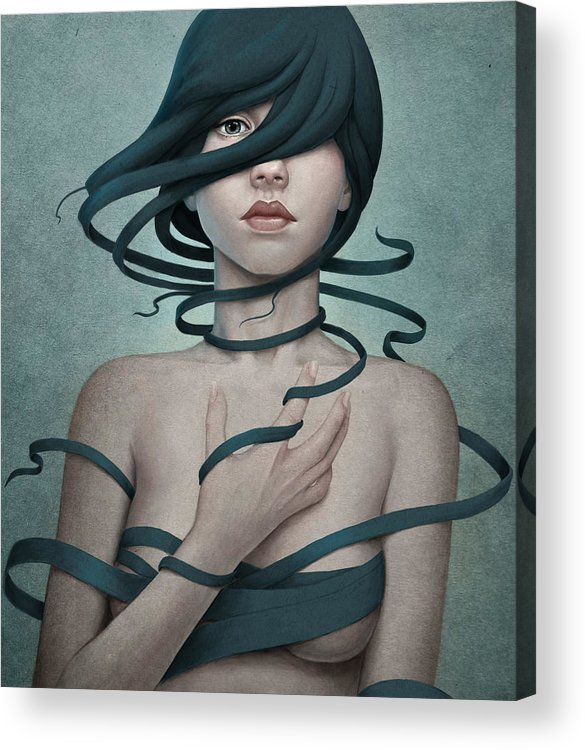 Woman Acrylic Print featuring the digital art Twisted by Diego Fernandez