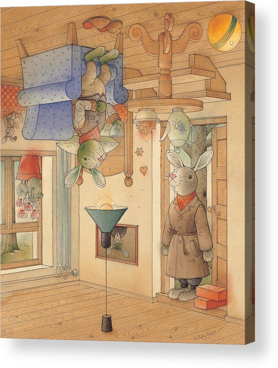 Rabbits Acrylic Print featuring the painting Two Rabbits by Kestutis Kasparavicius
