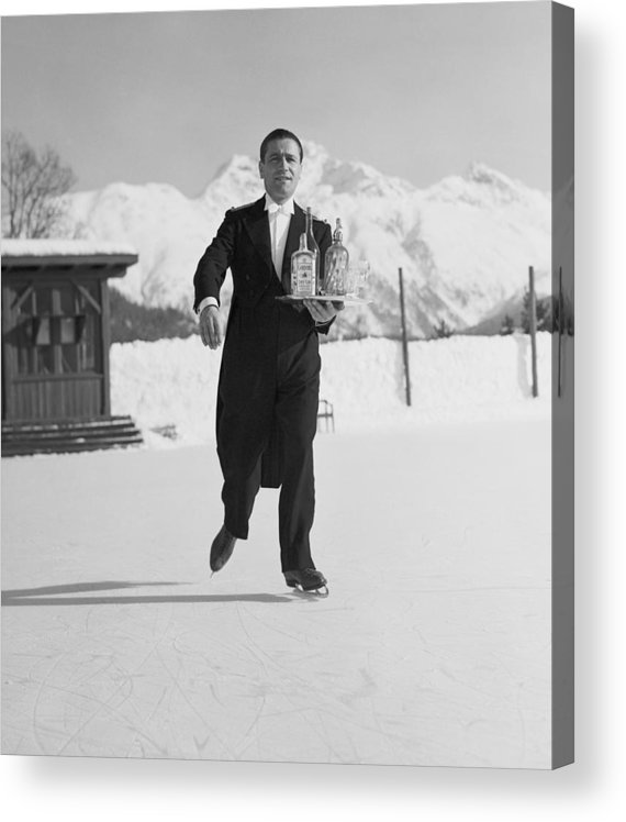 Snow Acrylic Print featuring the photograph Skating Waiter by Horace Abrahams