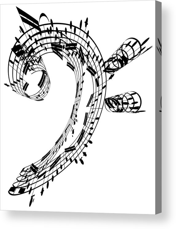 Sheet Music Acrylic Print featuring the digital art Bass Clef Made Of Music Notes by Ian Mckinnell
