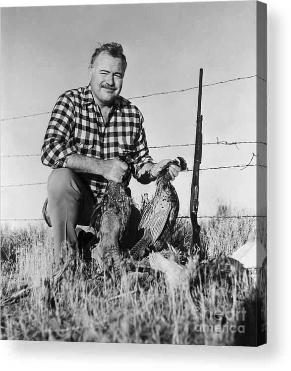 Ernest Hemingway Acrylic Print featuring the photograph Ernest Hemingway Showing His Pheasants by Bettmann