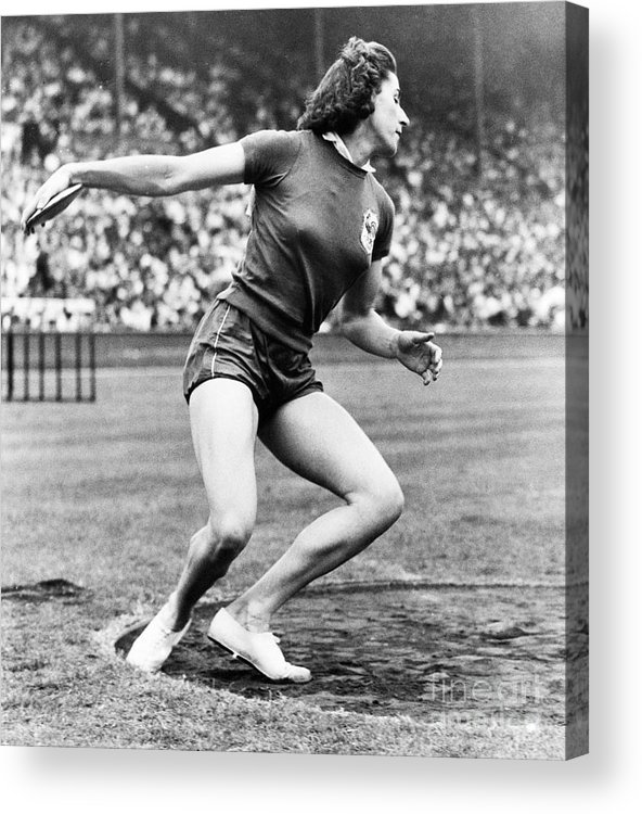 Event Acrylic Print featuring the photograph Micheline Ostermeyer Discuss Gold Medal by Bettmann