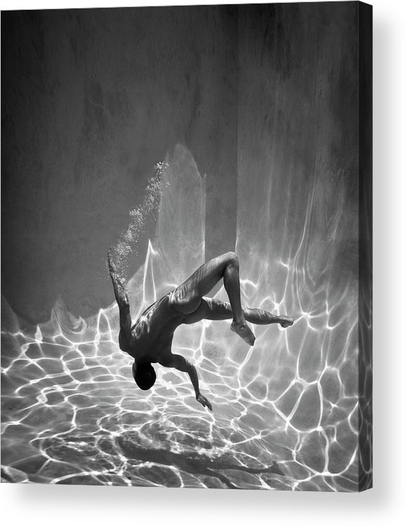 Underwater Acrylic Print featuring the photograph Naked Man Underwater by Ed Freeman