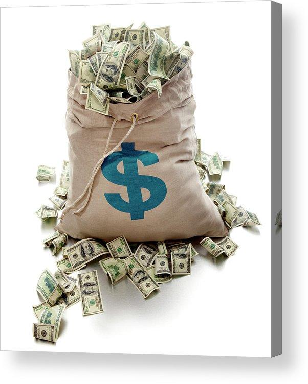 White Background Acrylic Print featuring the photograph Sack Of Cash by John Kuczala