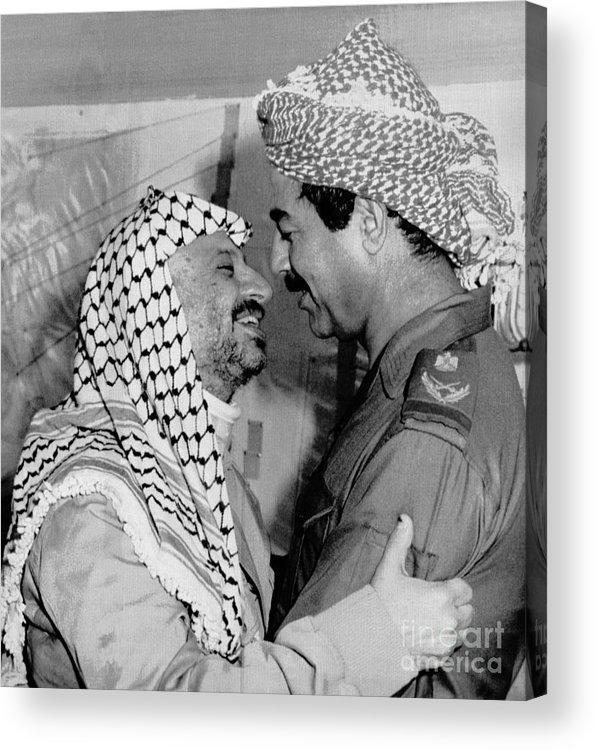 1980-1989 Acrylic Print featuring the photograph Saddam Hussein Greets Yasser Arafat by Bettmann