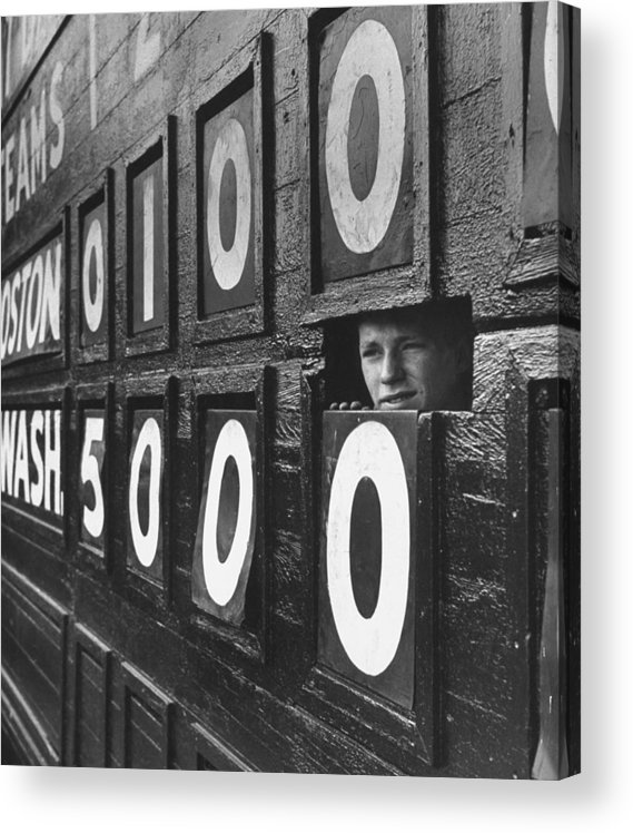 Timeincown Acrylic Print featuring the photograph Scoreboard Peep by Hank Walker