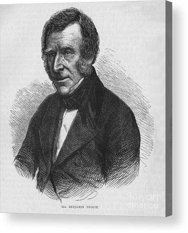 Engraving Acrylic Print featuring the drawing Sir Benjamin Brodie, English Doctor by Print Collector