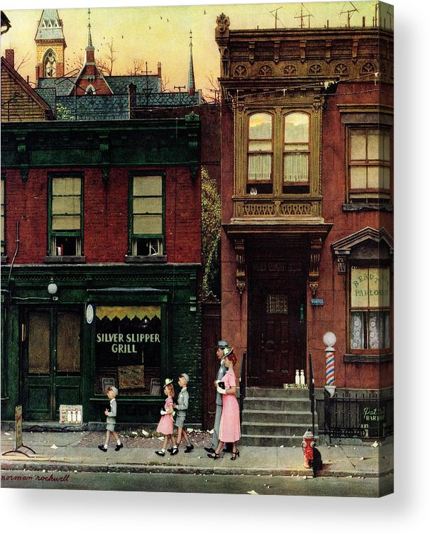 Churches Acrylic Print featuring the drawing Walking To Church by Norman Rockwell