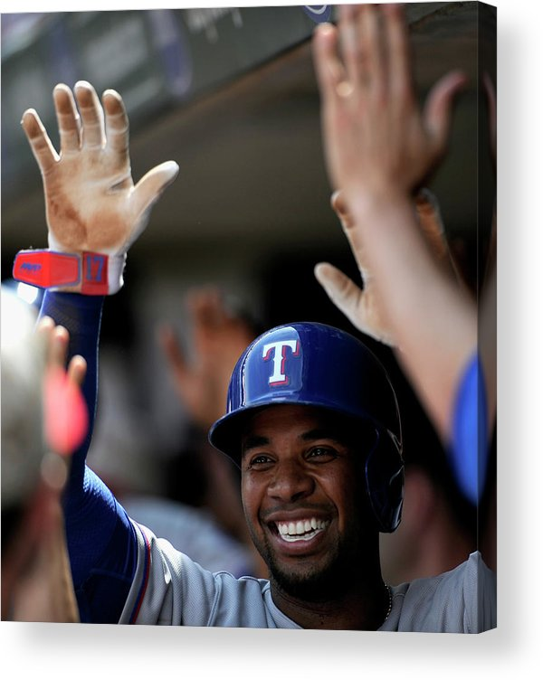 American League Baseball Acrylic Print featuring the photograph Elvis Andrus by Hannah Foslien