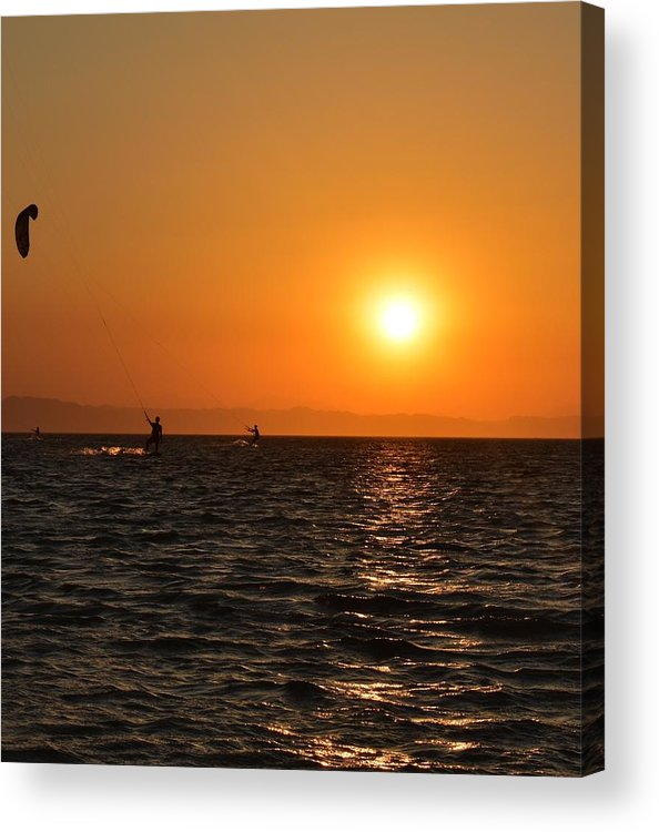 Kitesurfing Acrylic Print featuring the photograph Red sea sunset by Luca Lautenschlaeger