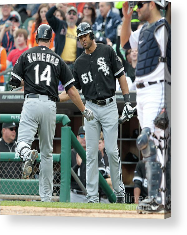 People Acrylic Print featuring the photograph Alex Rios and Paul Konerko by Leon Halip